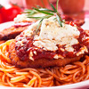 Chicken Parmigiana w/red linguini