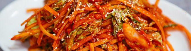 Seafood salad with calamari and Korean carrot