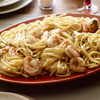 Shrimp Parmigiana w/red linguini